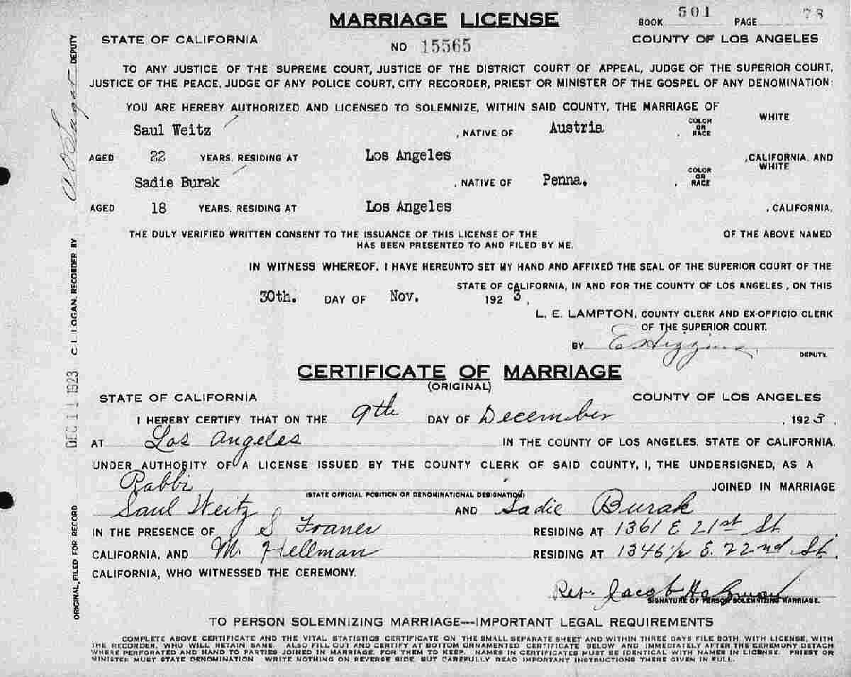 Marriage Certificate 1924 Los Angeles City Directory